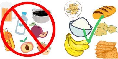 alimenti indicati e alimenti da evitare in caso di evacuazioni di liquidi