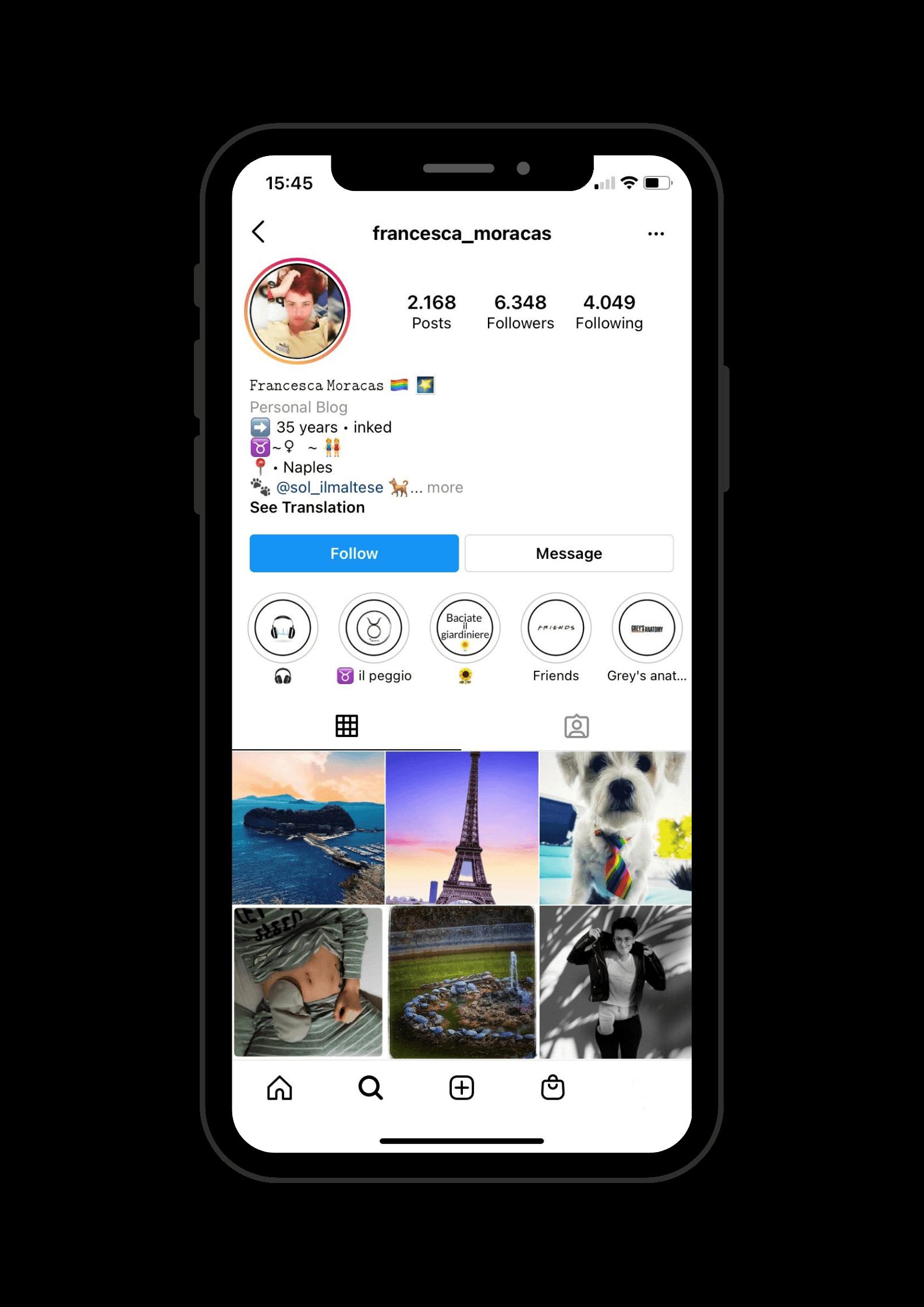 Francesca's Instagram profile